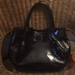 Kate Spade Large Black Patent Leather Hobo Bag